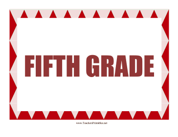 Fifth Grade Sign Teachers Printable