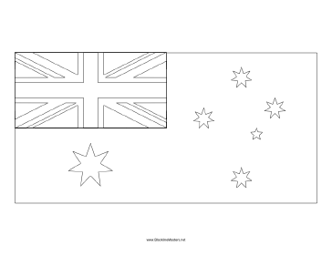 Flag of Australia Blackline Master Teachers Printable