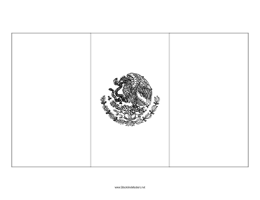 Flag of Mexico Blackline Master Teachers Printable