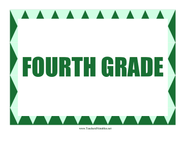 Fourth Grade Sign Teachers Printable