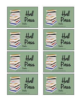 Books Hall Pass Teachers Printable