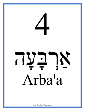 Hebrew 4 Masculine Teachers Printable