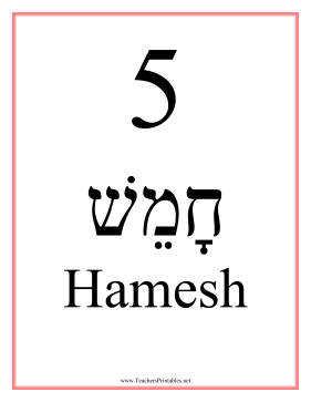 Hebrew 5 Feminine Teachers Printable