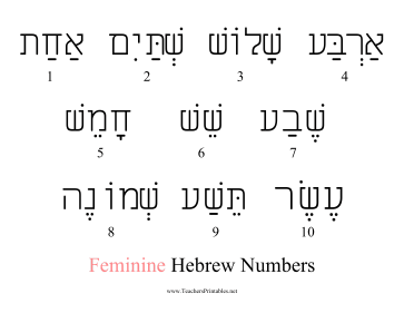 Hebrew Numbers Feminine Teachers Printable