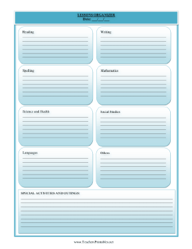 Homeschool Lesson Planner Teachers Printable
