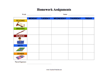 Homework Assignments —  Illustrated Teachers Printable