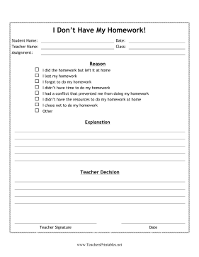 Homework Excuse Form Teachers Printable