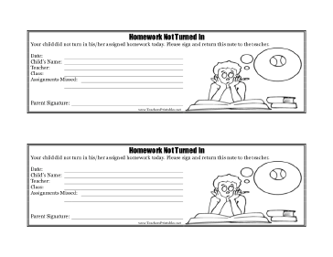 Homework Not Turned In Teachers Printable