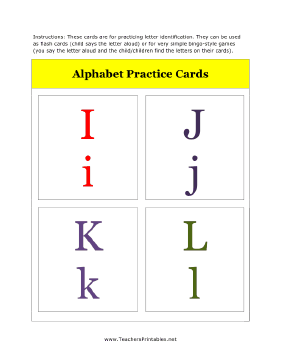 I to L Alphabet Flash Cards Teachers Printable