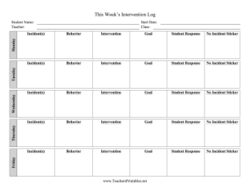 Intervention Log Teachers Printable
