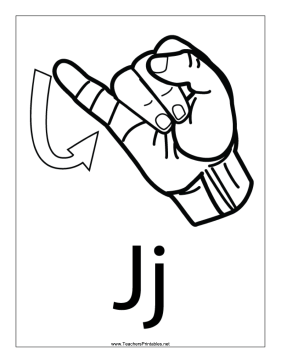 Letter J-Outline-With Label Teachers Printable