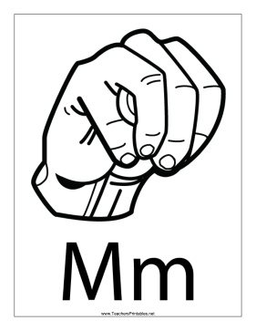 Letter M-Outline-With Label Teachers Printable