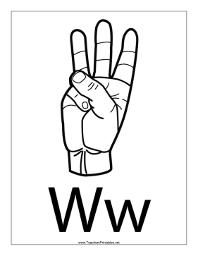 Letter W-Outline-With Label Teachers Printable
