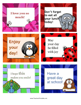 Lunch Box Notes More Animals Teachers Printable