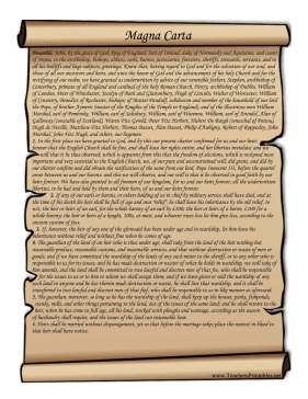 Magna Carta Teachers Printable