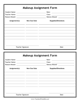Makeup Homework Form Teachers Printable