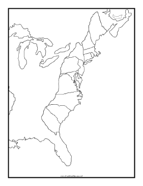Blackline Map of Thirteen Colonies Teachers Printable