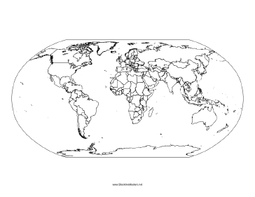 Blackline Map of the World Teachers Printable