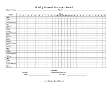Monthly Personal Attendance Record Multiple Classes Teachers Printable