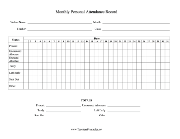 Monthly Personal Attendance Record One Class Teachers Printable