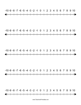 More Number Lines Teachers Printable