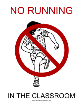 No Running Sign Teachers Printable