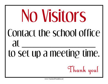 No Visitors Contact Info Sign Teachers Printable