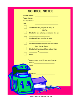 Note to School Fill In Teachers Printable