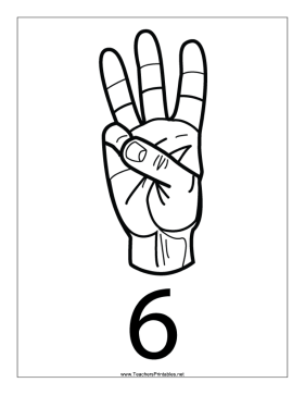 Number 6-Outline-With Label Teachers Printable