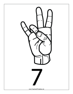 Number 7-Outline-With Label Teachers Printable