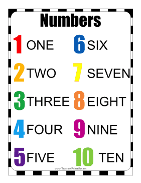 Numbers Chart Teachers Printable