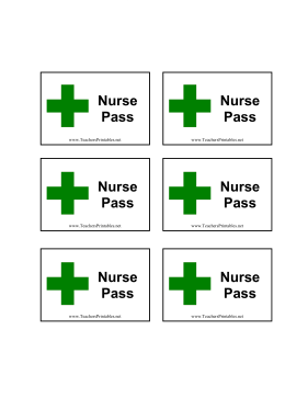 Nurse Pass Teachers Printable