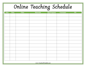 Online Teaching Schedule Teachers Printable