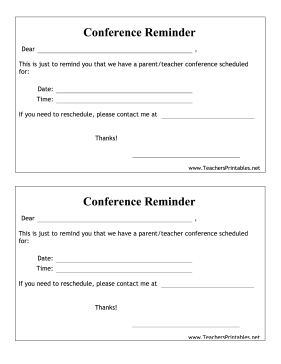 Parent Teacher Conference Reminder Teachers Printable