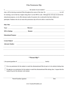 Permission for Movies Teachers Printable