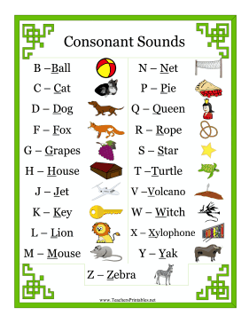 Phonics Chart Consonants Teachers Printable