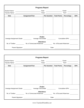 Progress Report Teachers Printable