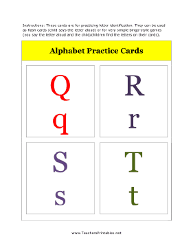 Q to T Alphabet Flash Cards Teachers Printable