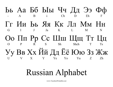Russian Alphabet Teachers Printable