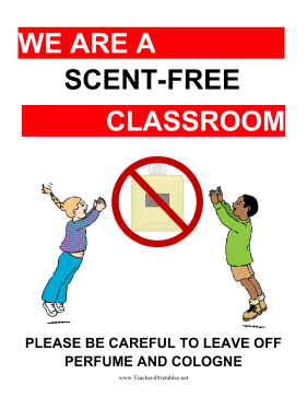Scent-Free Classroom Poster Teachers Printable