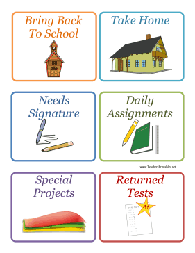 School Assignment Labels Teachers Printable