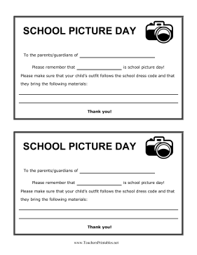School Pictures Reminder Teachers Printable