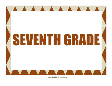 Seventh Grade Sign Teachers Printable