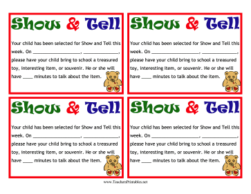 Show-and-Tell Notes Teachers Printable