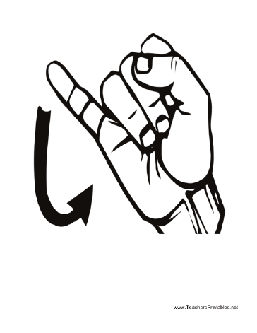 Sign Language J Teachers Printable