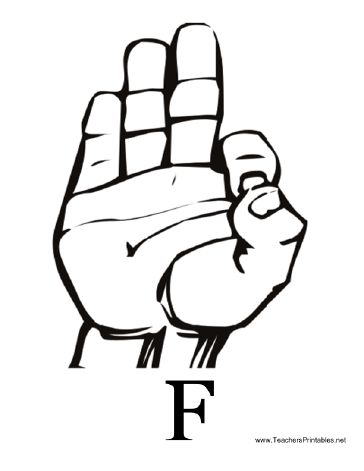 Sign Language with F Teachers Printable
