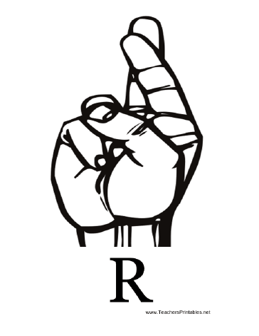 Sign Language with R Teachers Printable