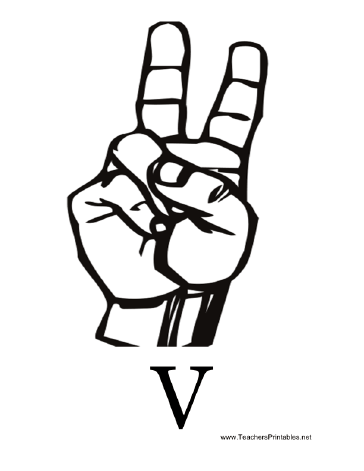 Sign Language with V Teachers Printable