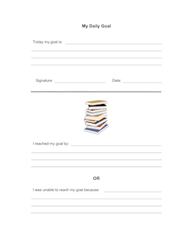 Student Daily Goal Teachers Printable