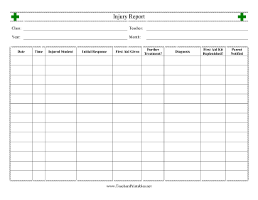 Student Injury Report Teachers Printable
